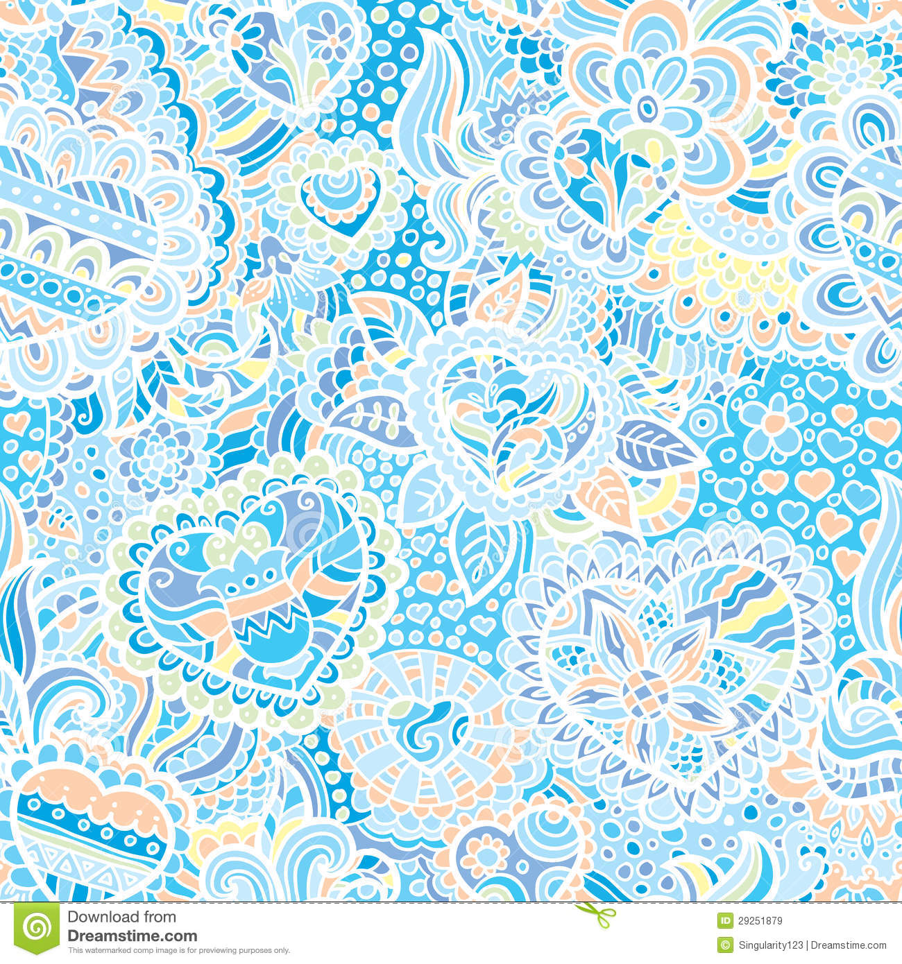 Seamless doodle wallpaper stock vector. Image of love ...