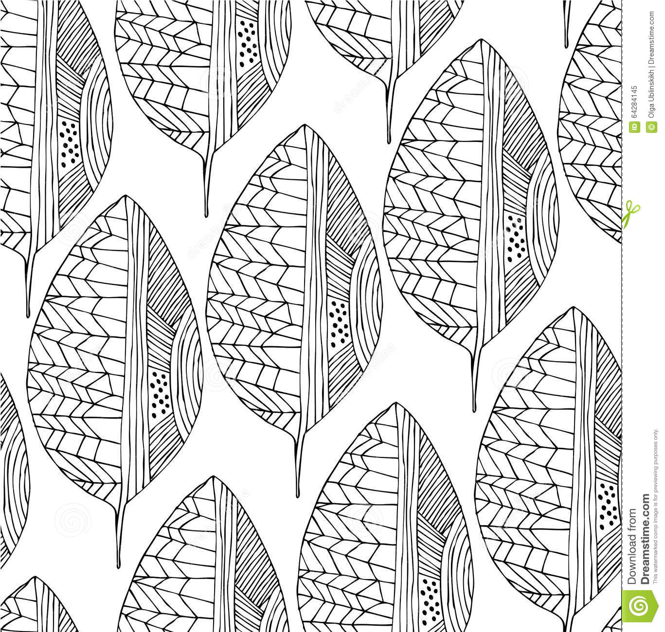 Line Drawing Leaf : Seamless drawing pattern with decorative leaves vector