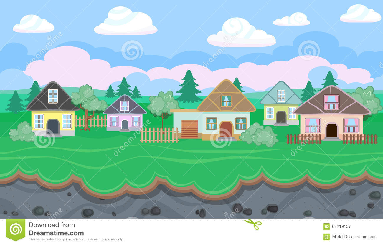 Seamless Editable Landscape Of Village For Game Design Stock Vector on house builder games, architect games, design games, house decorating games, house design, house building games, house planner games,