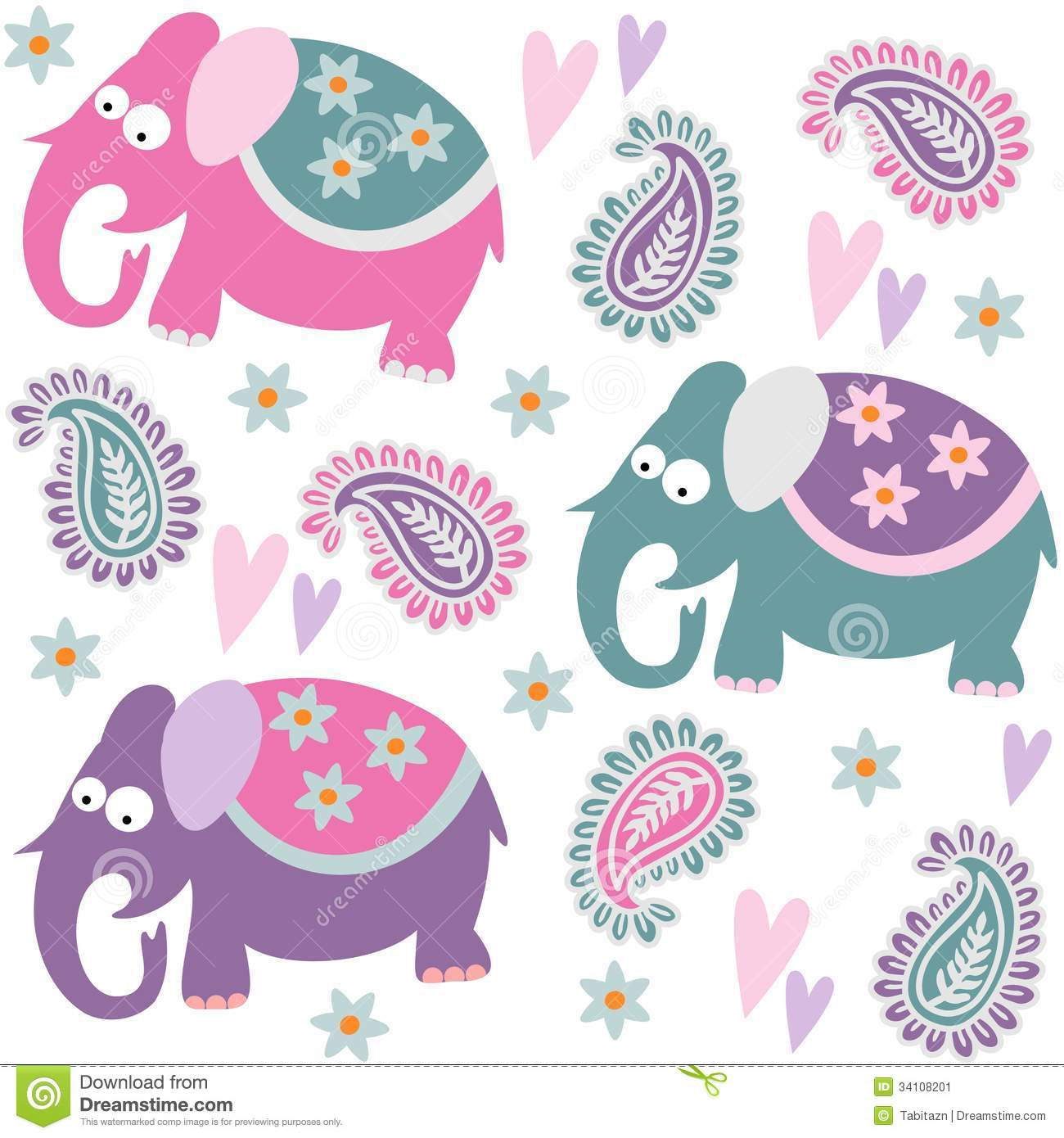 seamless elephant kids pattern wallpaper background with flowers and