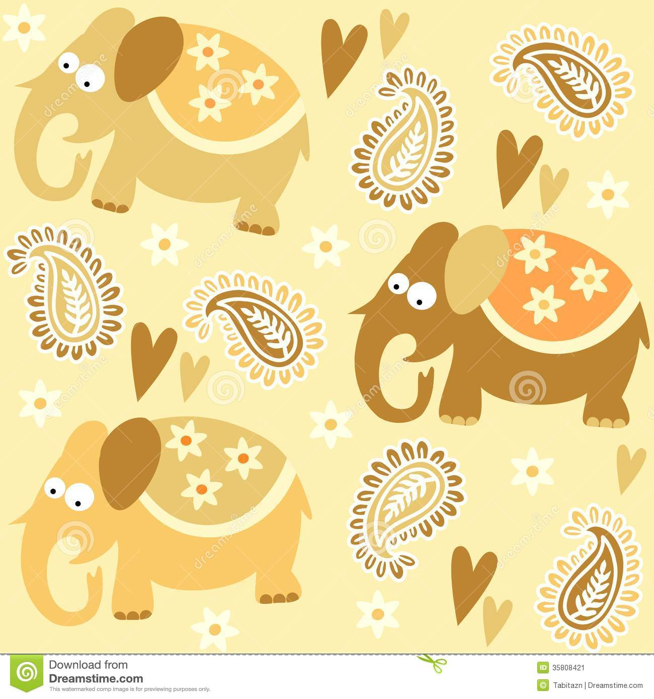 seamless elephant kids pattern wallpaper backgroun stock vector