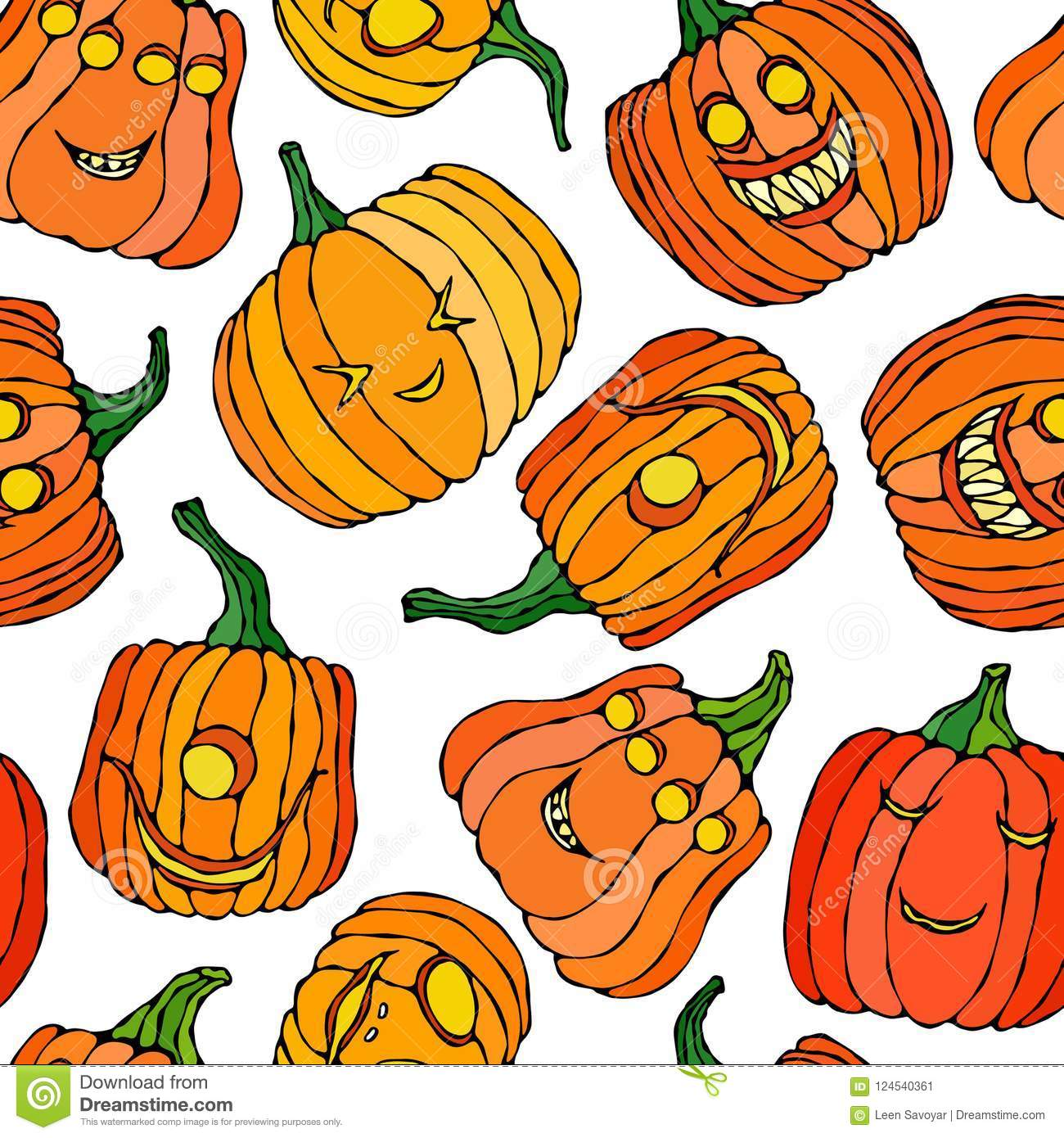 Seamless Endless Halloween Background With The Cute Pumpkins