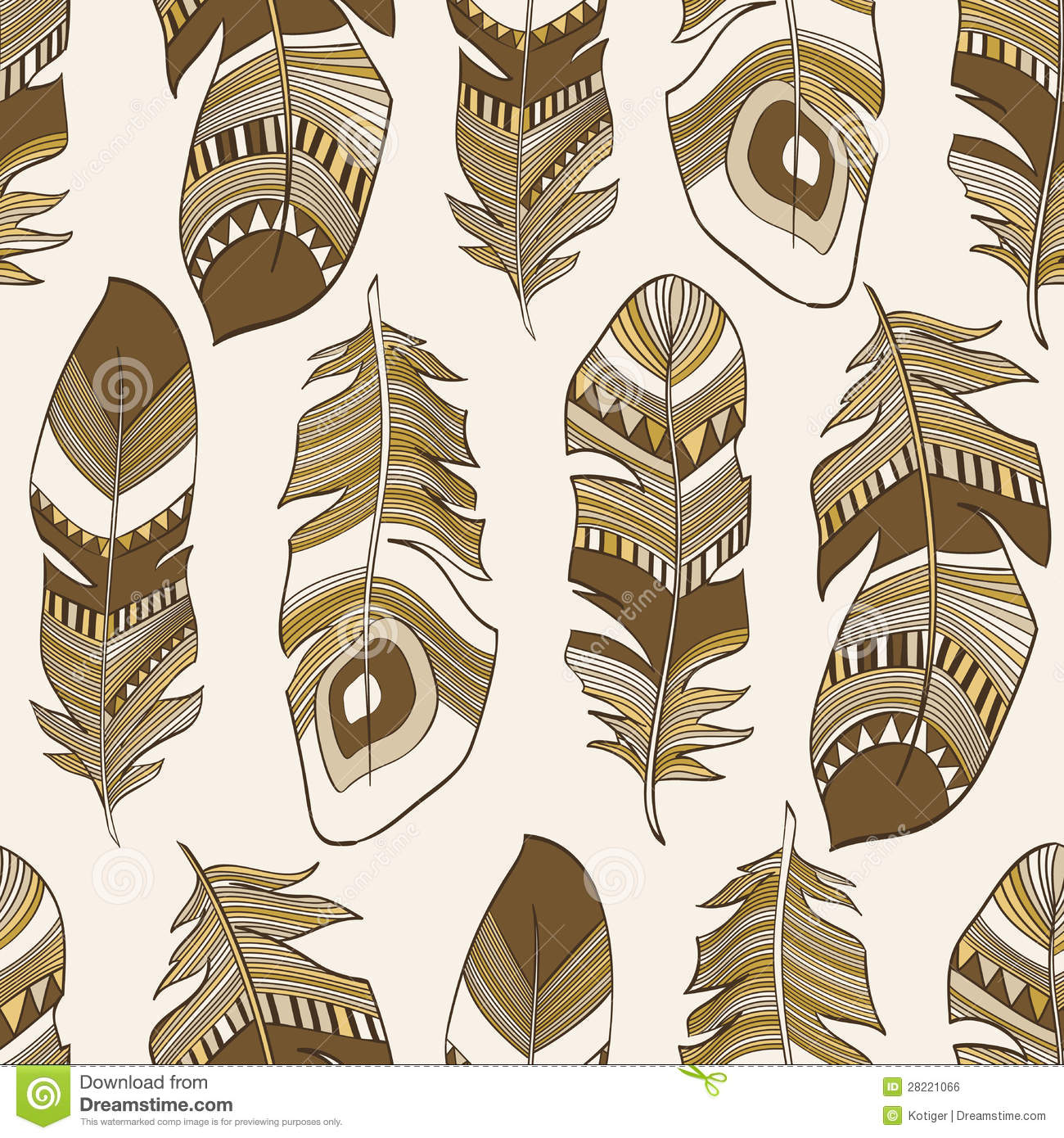 Seamless Ethnic Indian Feathers Plumage Pattern Stock ...
