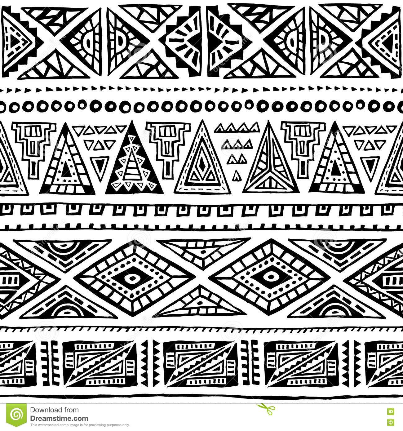 seamless ethnic pattern ornament hand drawn ink tribal motifs stock vector image 79844897. Black Bedroom Furniture Sets. Home Design Ideas