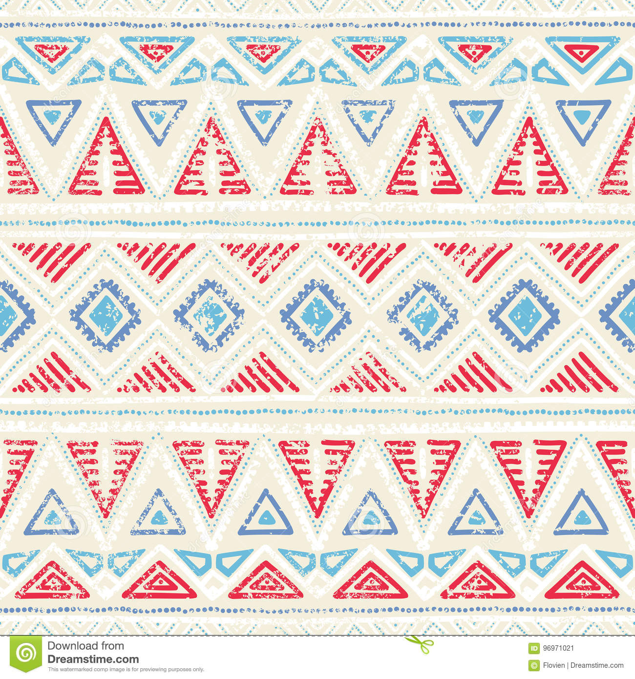 Seamless ethnic pattern. Ornament in tribal style. Grunge texture. Vintage print. Red, white and blue geometric elements.