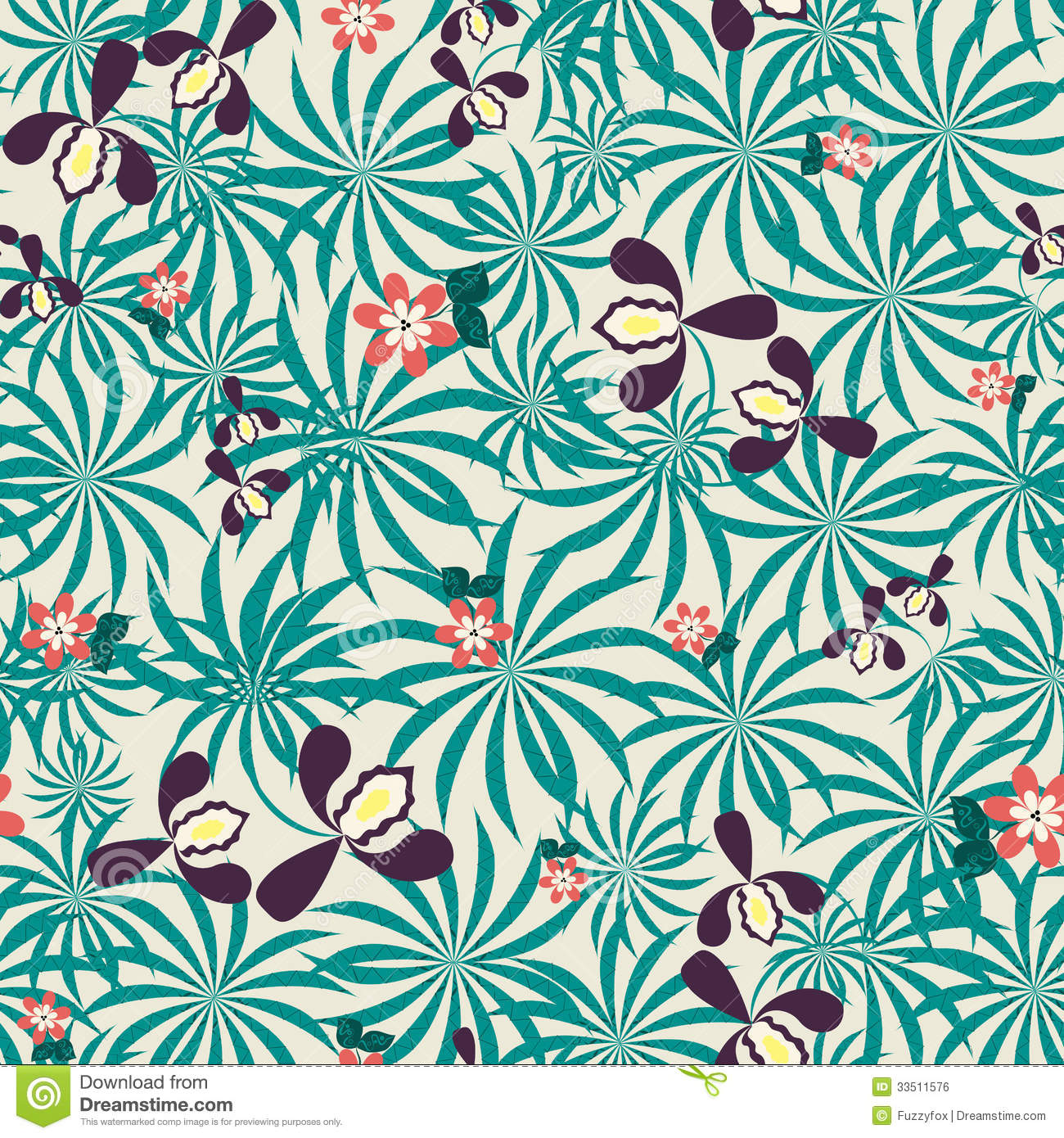 Seamless Exotic Floral Pattern Stock Photo Image 33511576