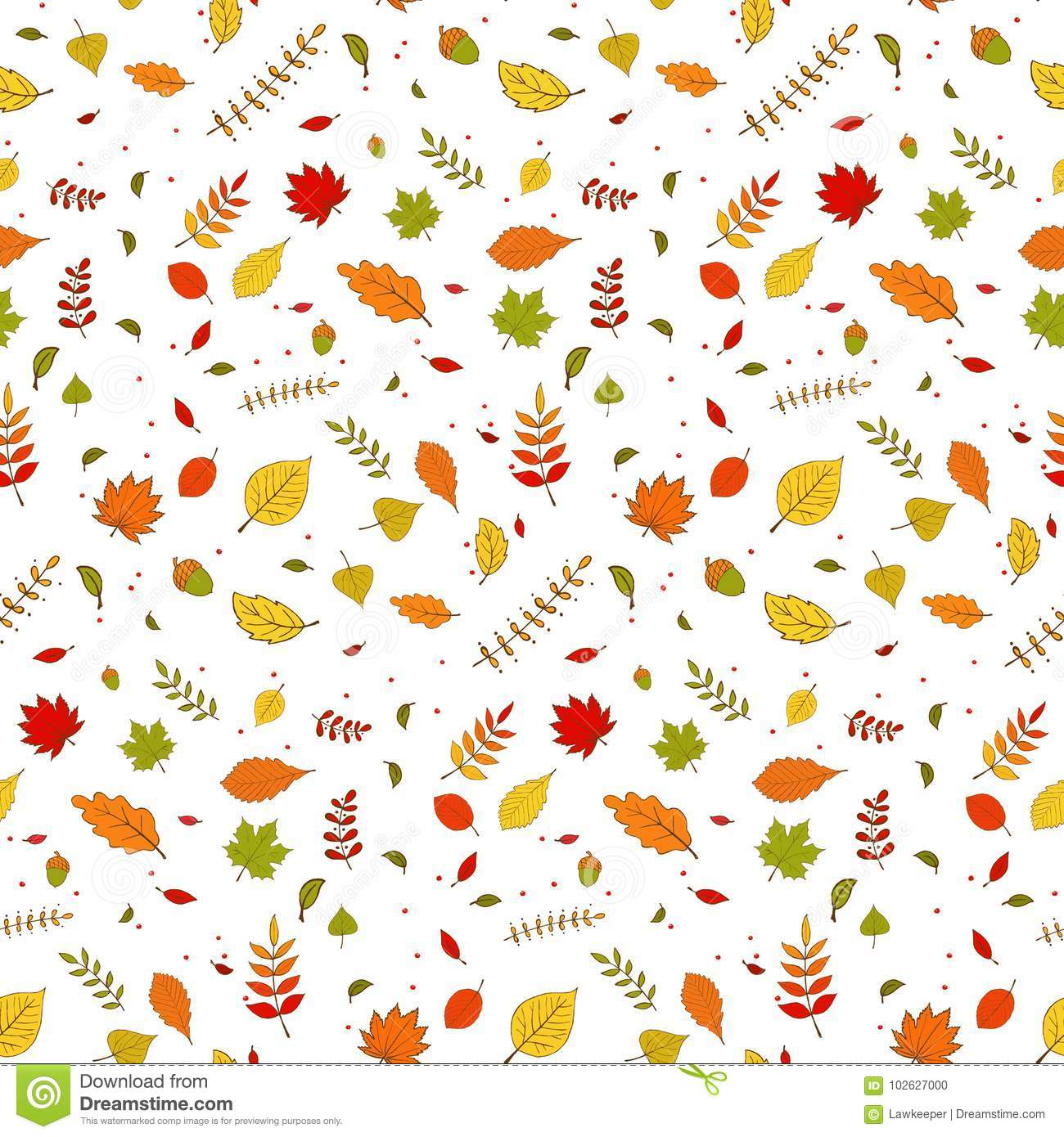 Seamless Falling Colorful Autumn Leaves Wallpaper Pattern