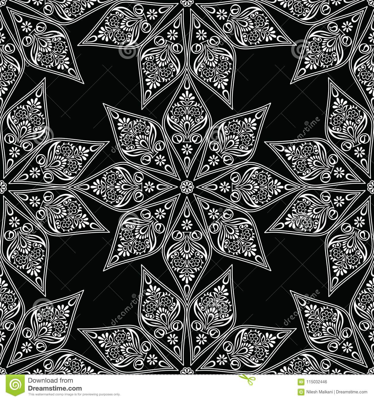 Seamless Fancy Black And White Floral Wallpaper Stock Vector