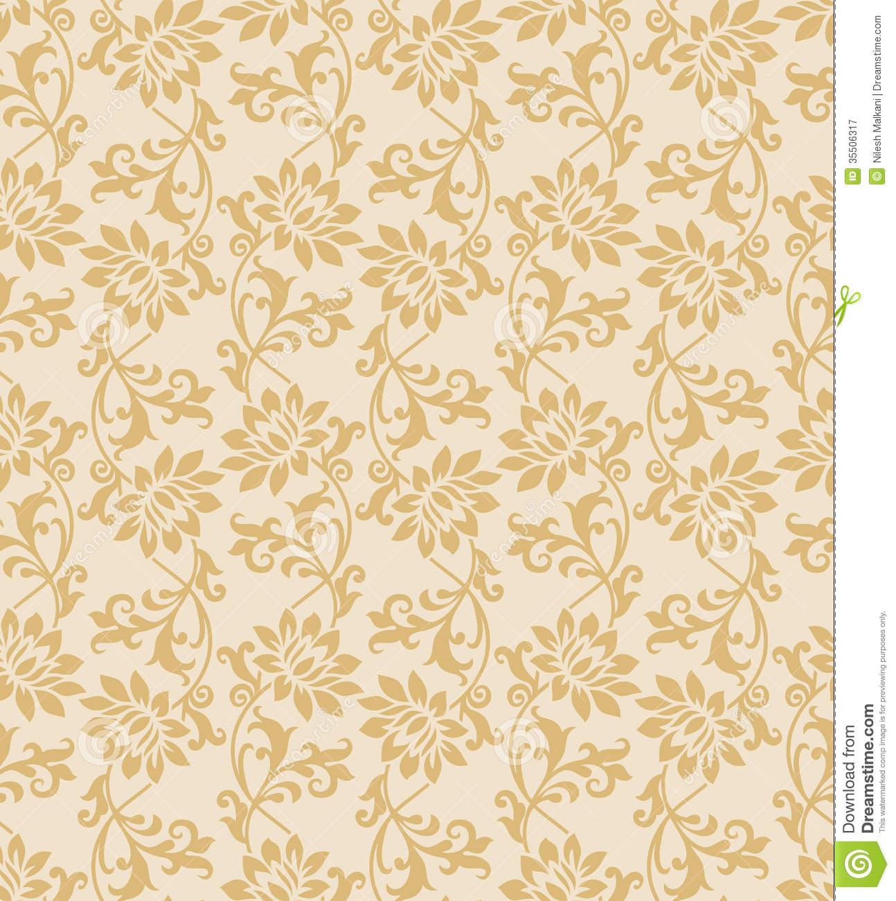 seamless fancy floral wallpaper royalty free stock
