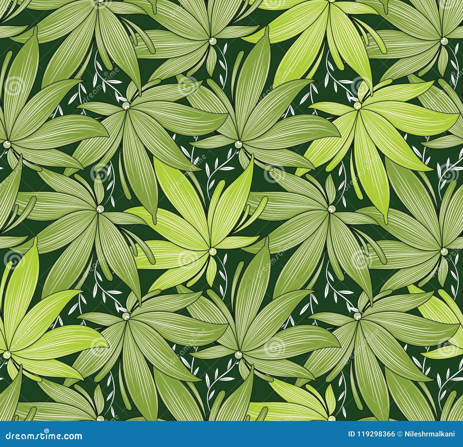 Seamless Fancy Green Leaves Wallpaper Stock Vector Illustration Of