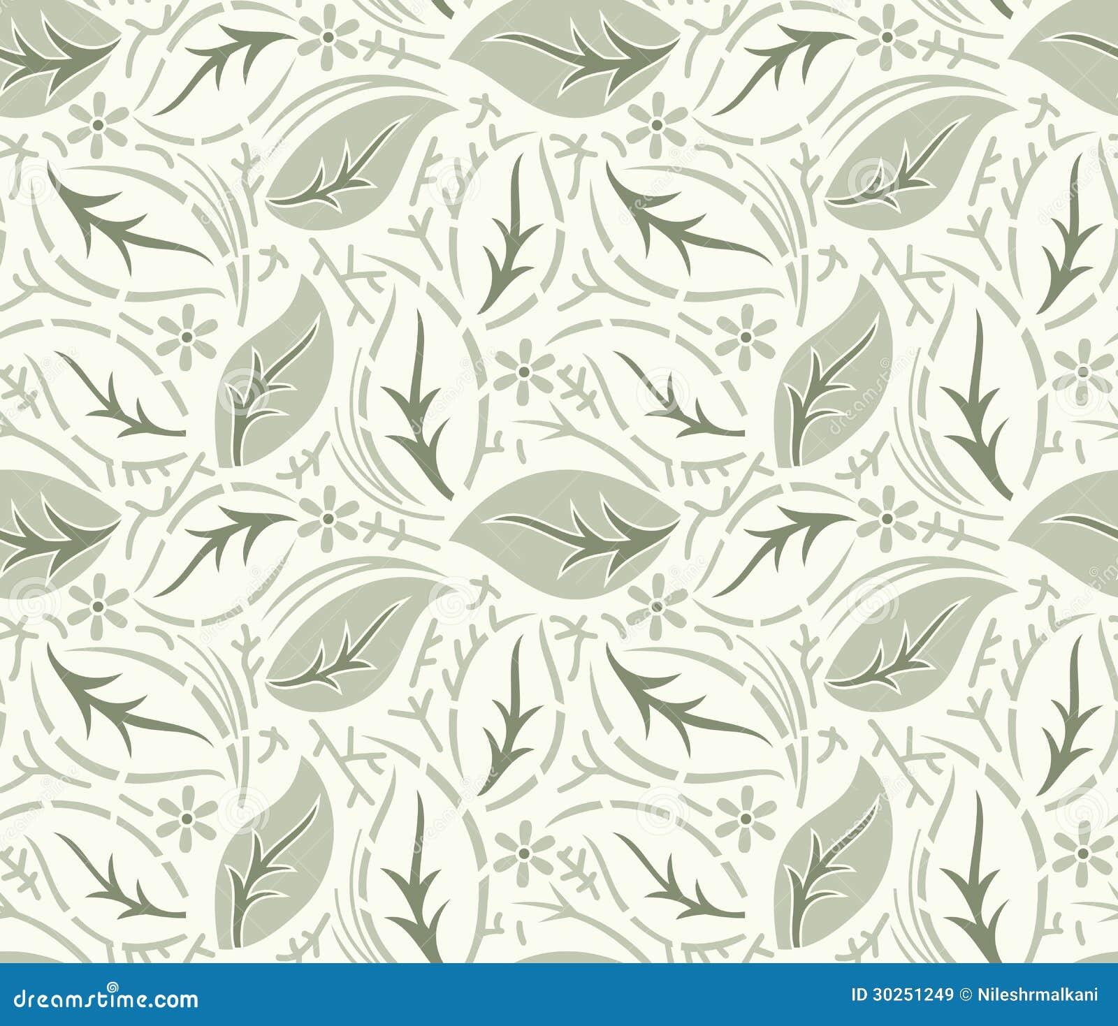 Seamless fancy leaves vector wallpaper