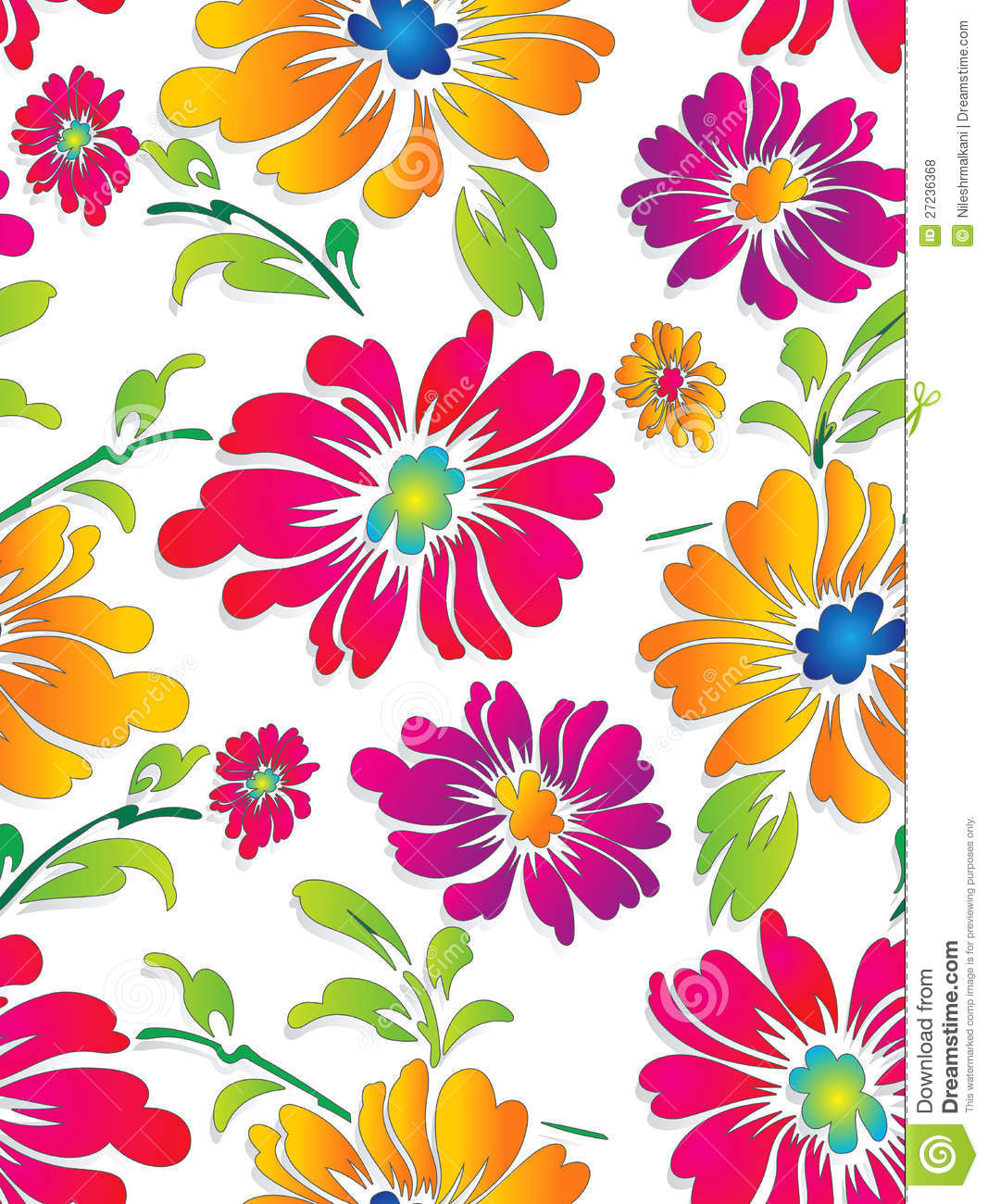 Seamless Fancy Vector Flower Wallpaper Stock Vector