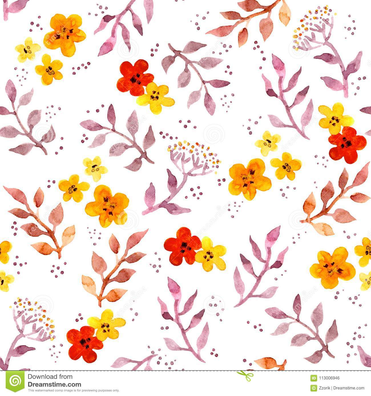 Seamless Fantasy Floral Background With Cute Flowers Watercolor