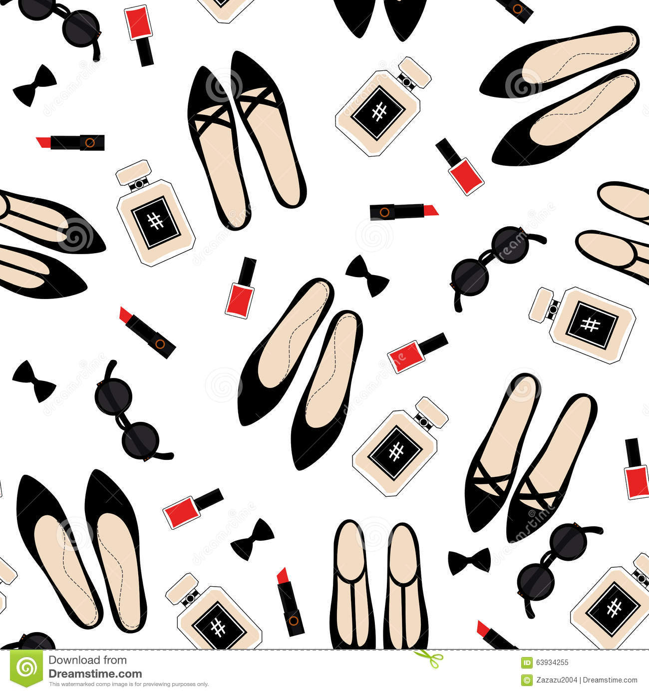 Fashionable Clothes Shoes Jeans Lipsticks Nail Polish: Seamless Fashion Accessories Pattern. Stock Vector