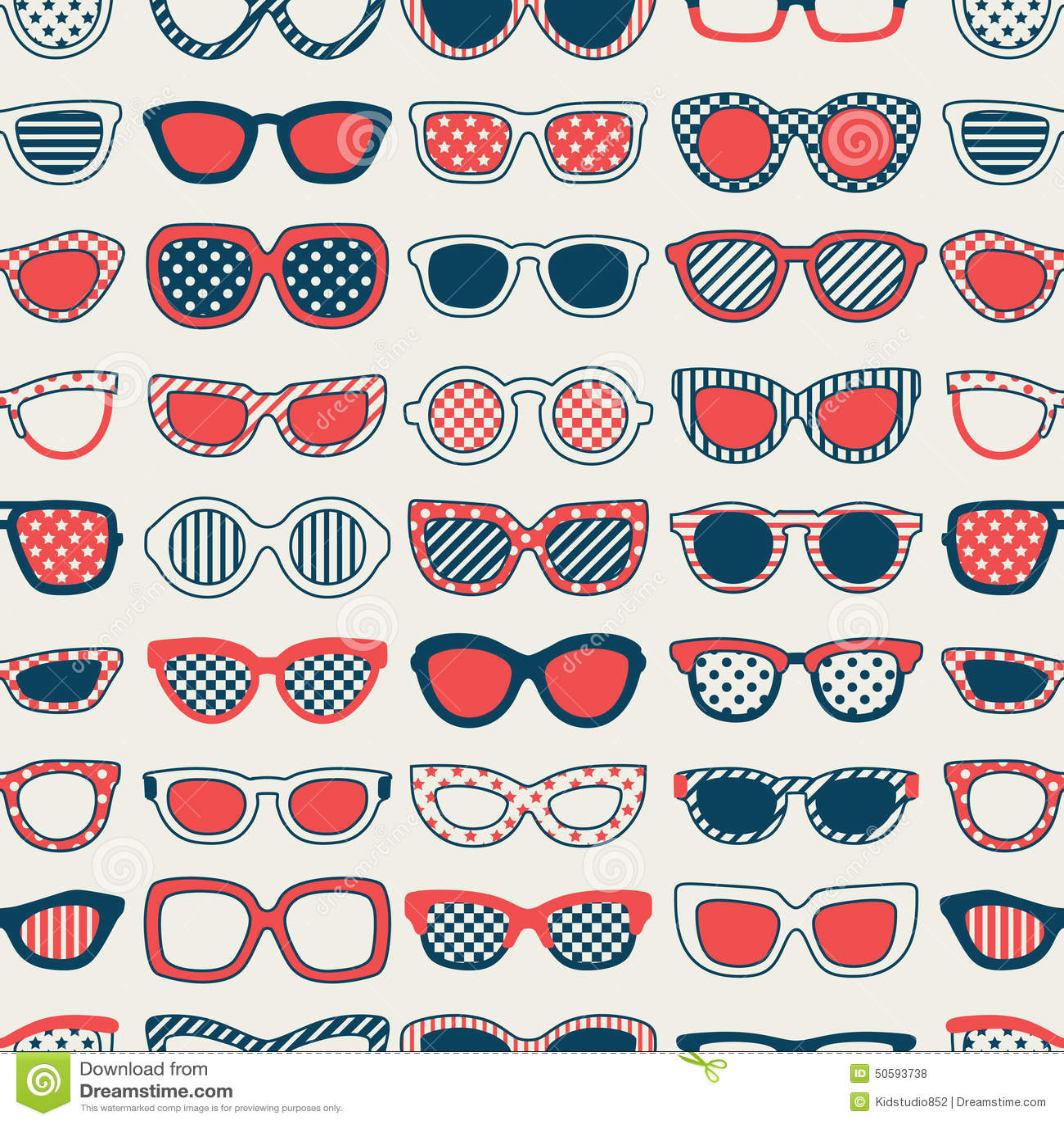 Seamless Fashion Eyeglasses Pattern Stock Vector