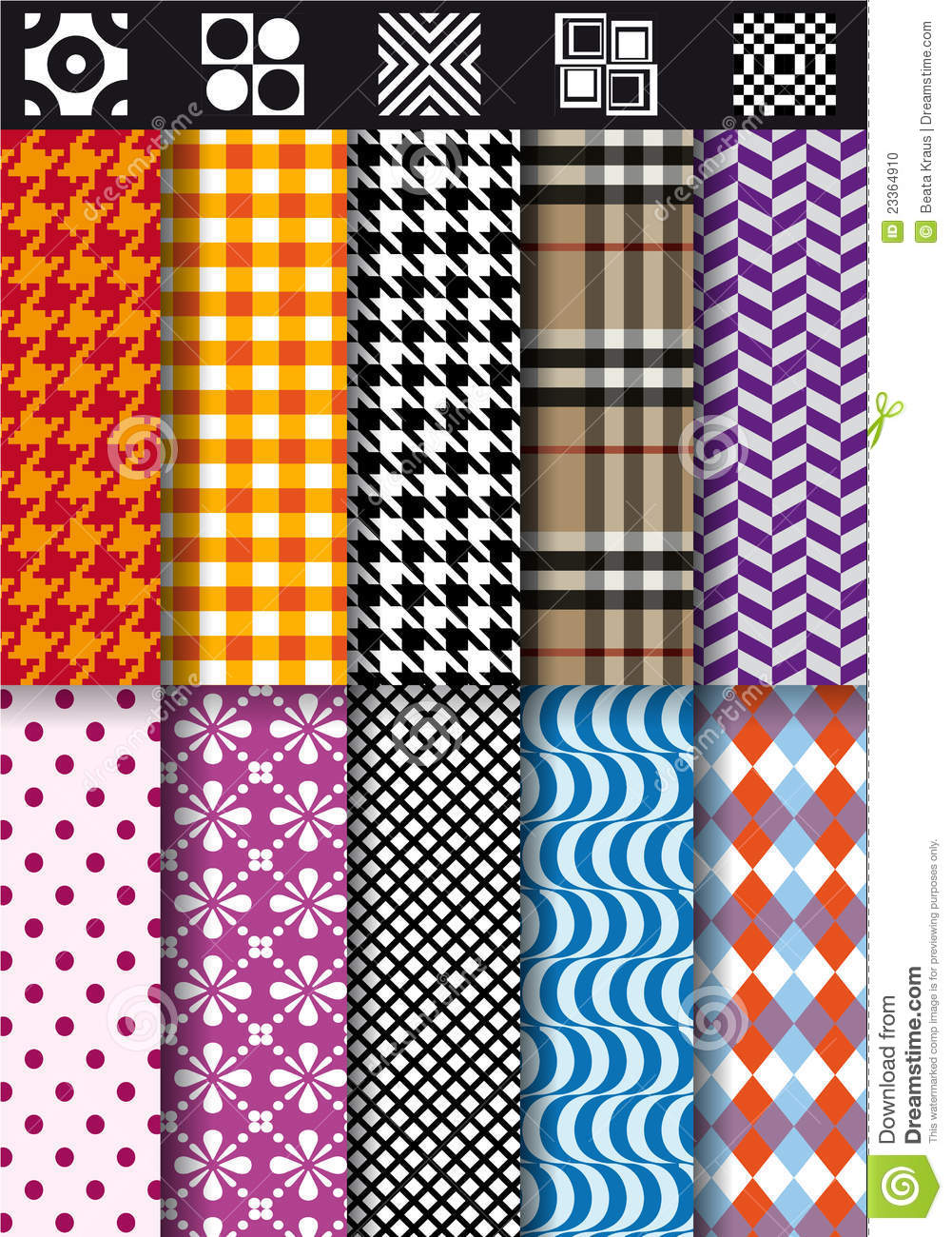 Seamless fashion patterns vector set stock photo image for Fashion fabrics