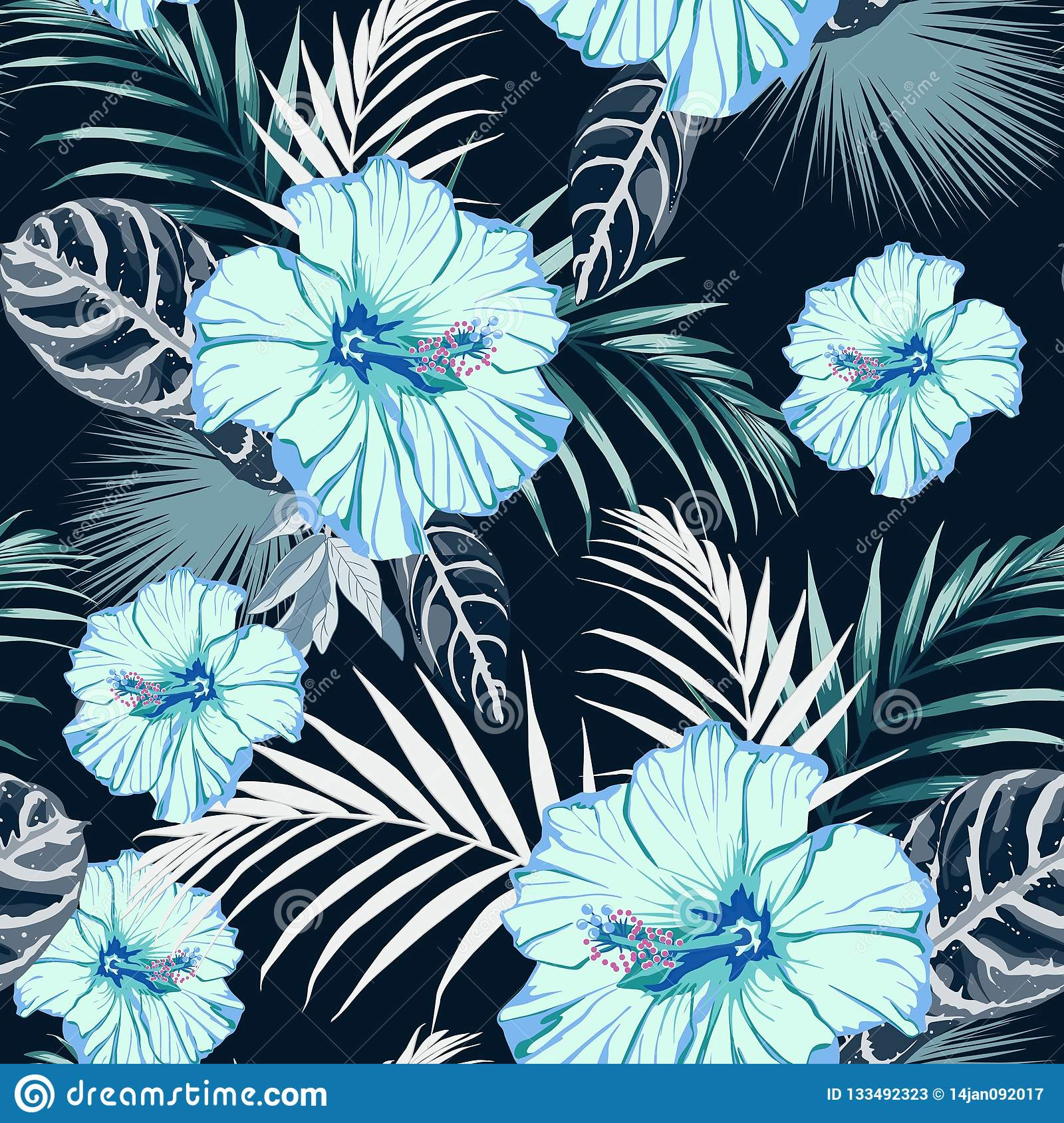 Seamless Fashionable Abstract Graphical Hand Drawing Blue Hibiscus ...