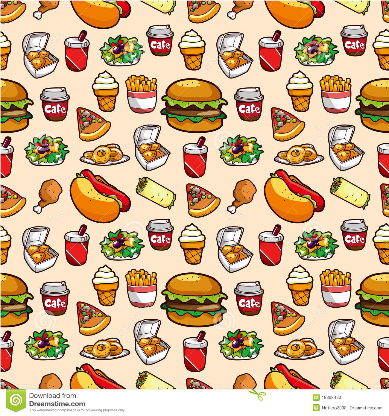 Seamless Fast Food Pattern Stock Vector Illustration Of