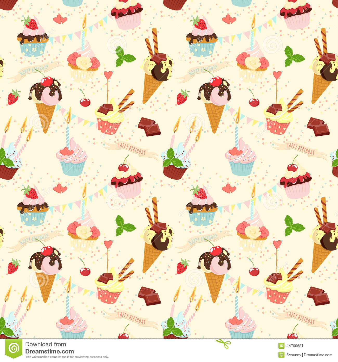 Sweet Ice Cream Flat Colorful Seamless Pattern Vector: Seamless Festive Birthday Cakes And Ice-cream Pattern