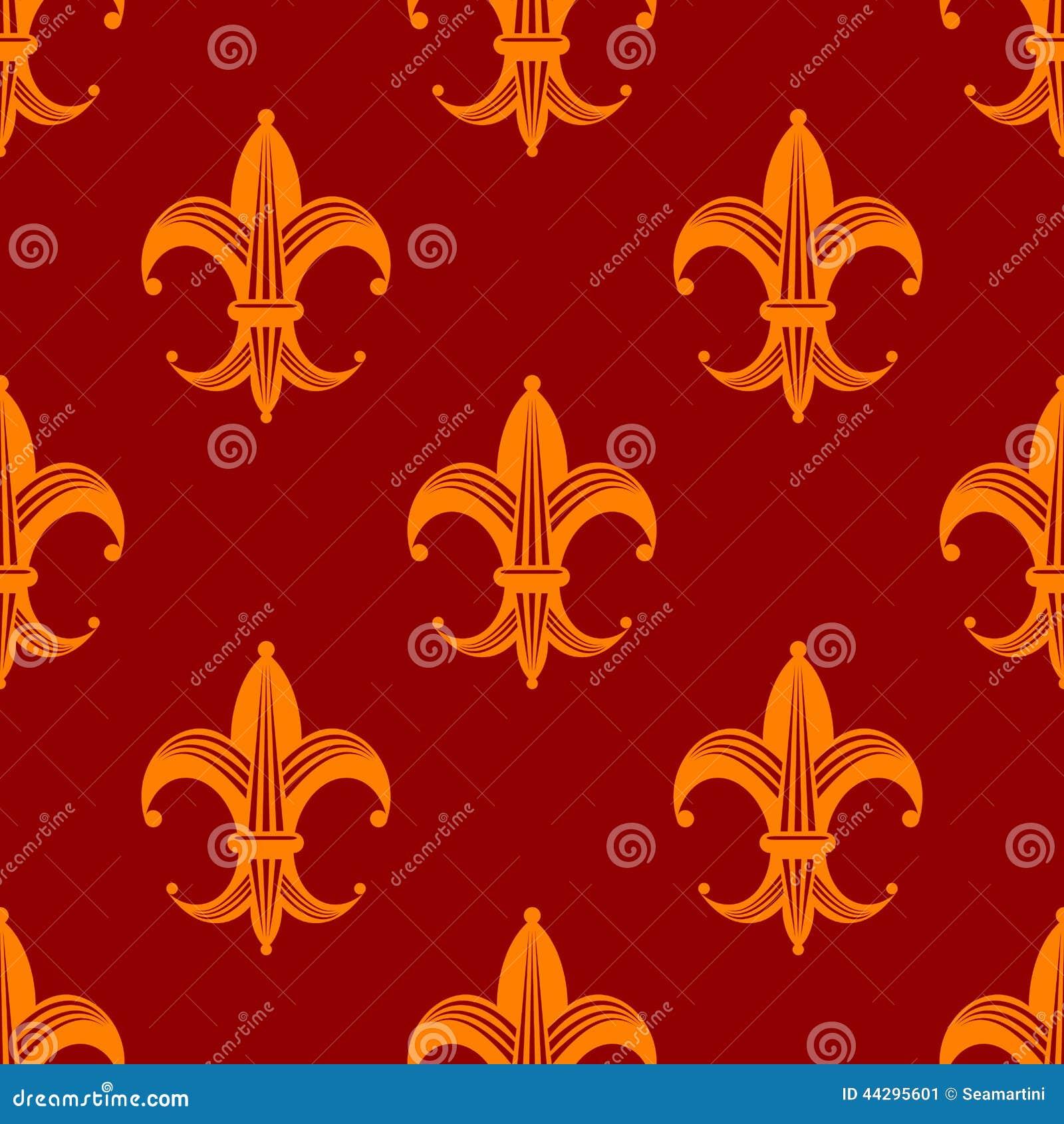 seamless fleur de lys royal orange pattern stock vector. Black Bedroom Furniture Sets. Home Design Ideas