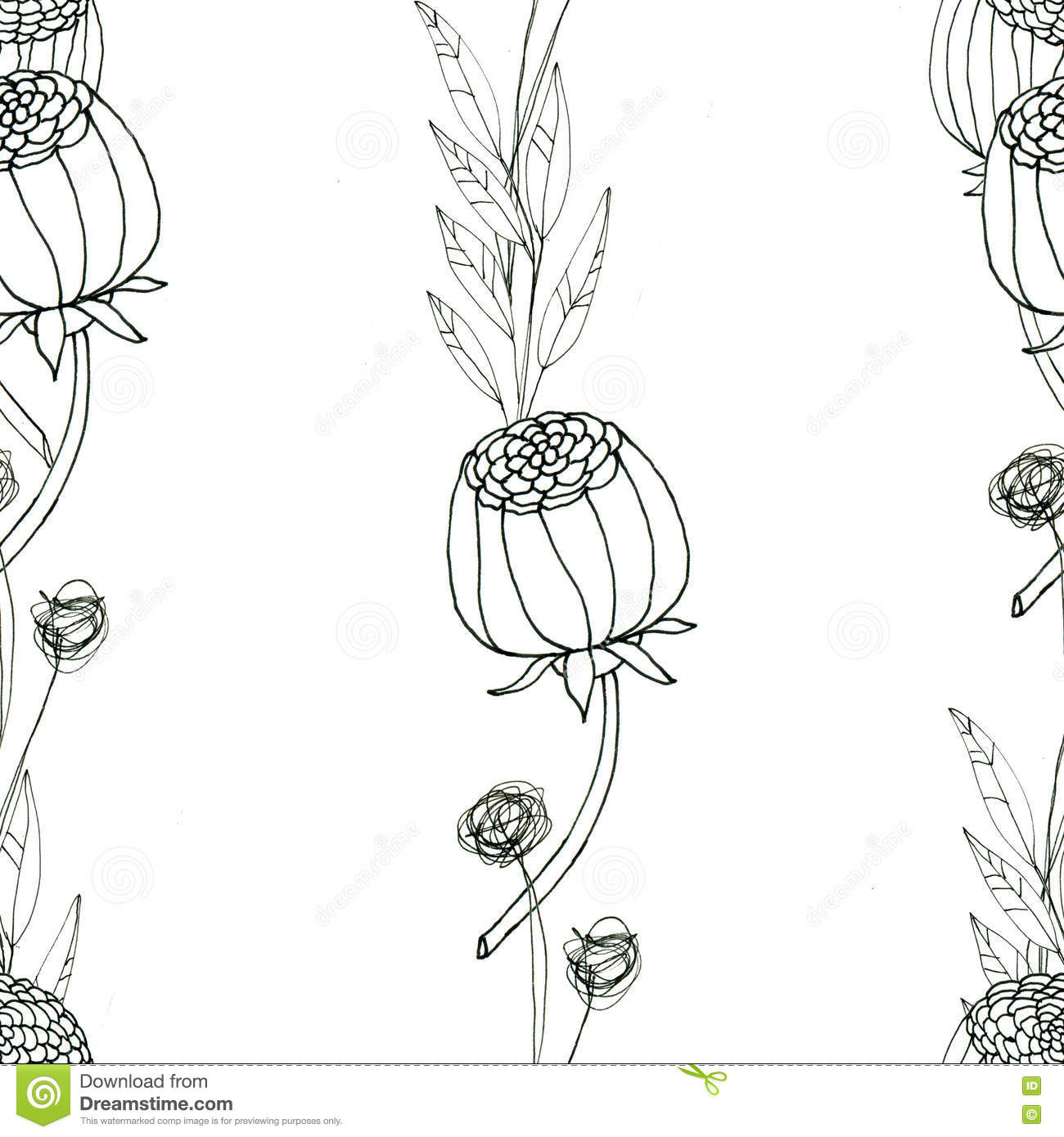 Seamless Floral With Abstract Black And White Flowers Stock