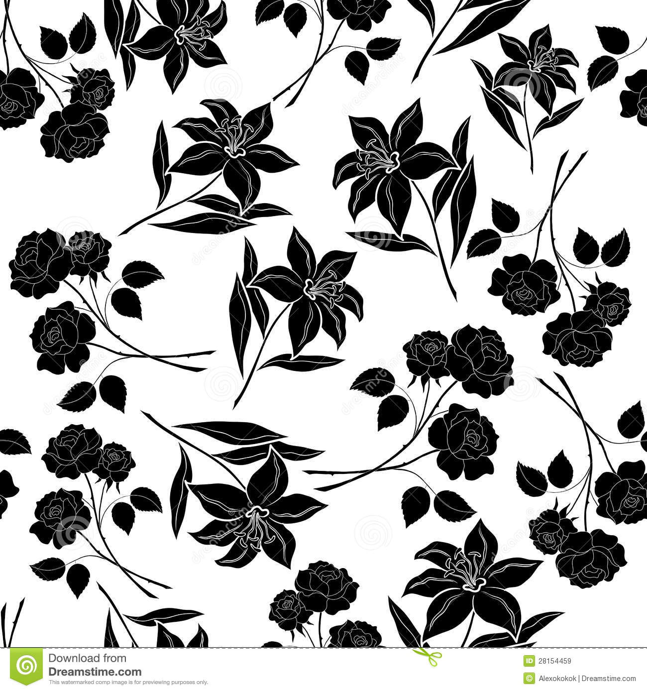 Black Flower Silhouette Pattern Royalty Free Stock Images: Seamless Floral Background, Black Silhouettes Stock Vector