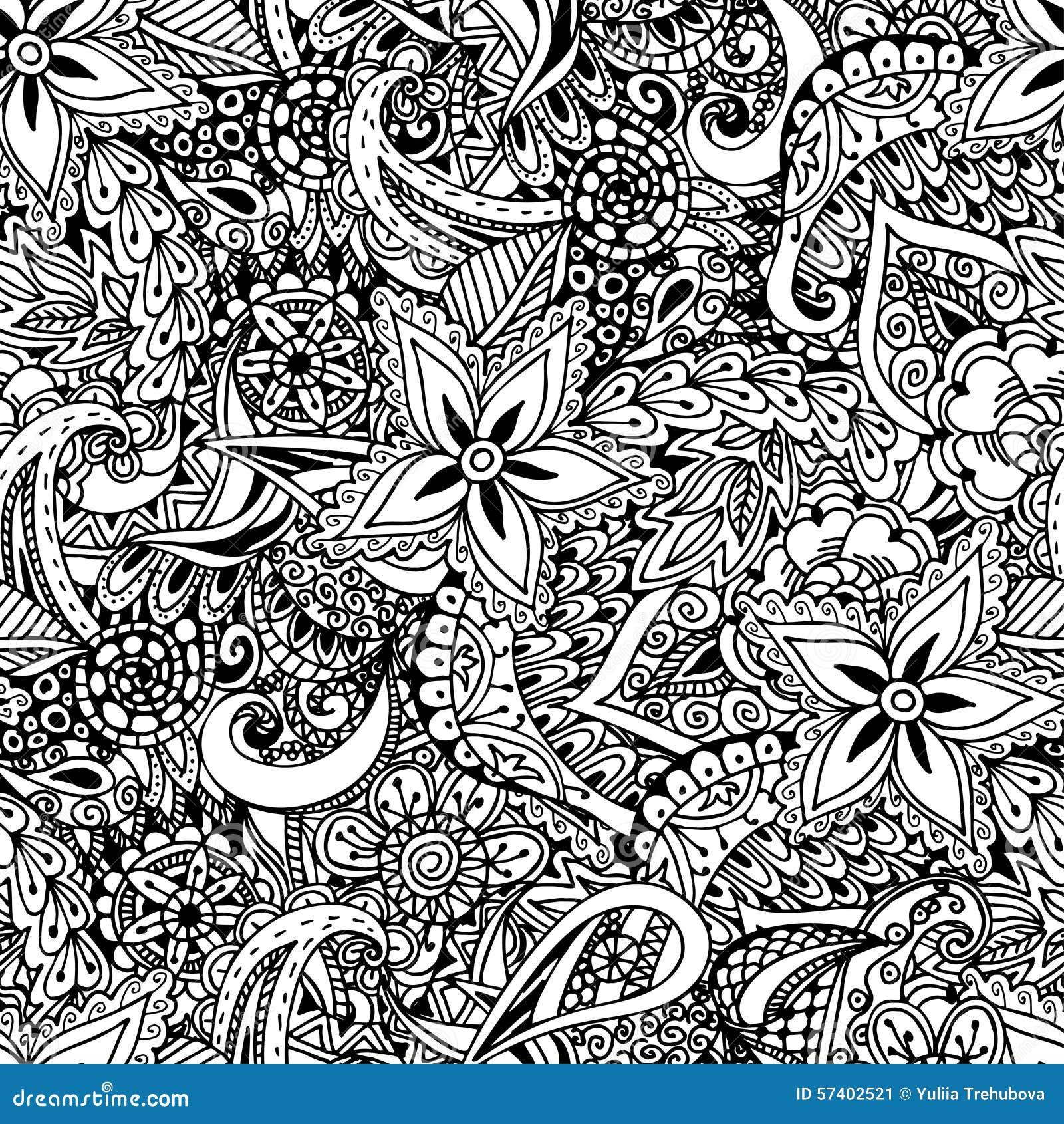 Seamless floral background ethnic doodle design pattern - Doodle dessin ...