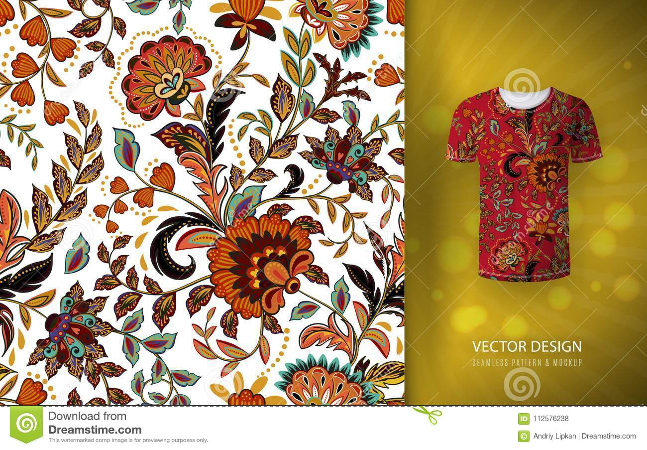 Seamless floral background. Fantasy flowers pattern, used on t-shirt mock up. Design for prints, wallpaper, textile