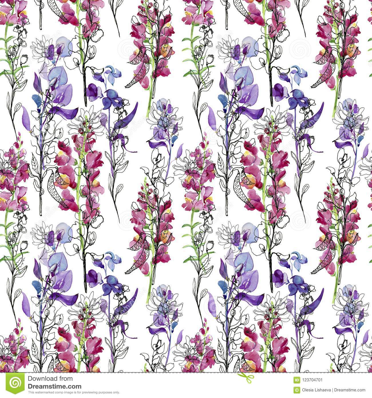Seamless Floral Background With Flowers Drawing Seamless