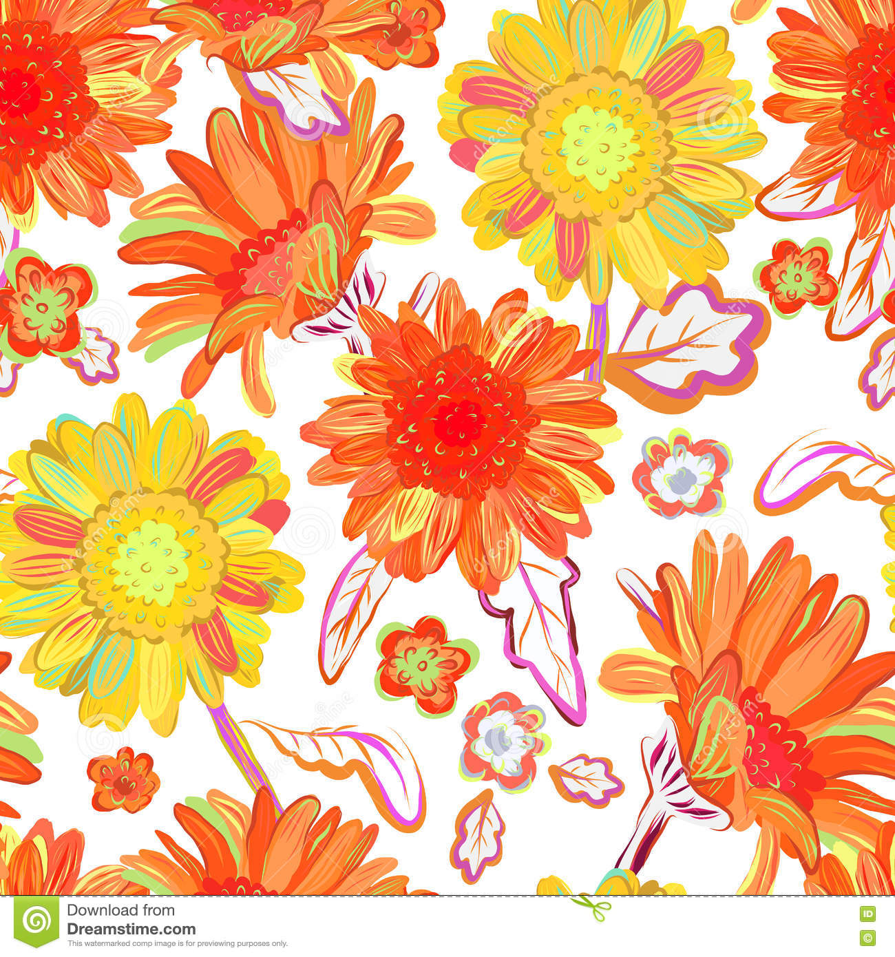 Seamless Floral Background Isolated Red Yellow Flowers Vector