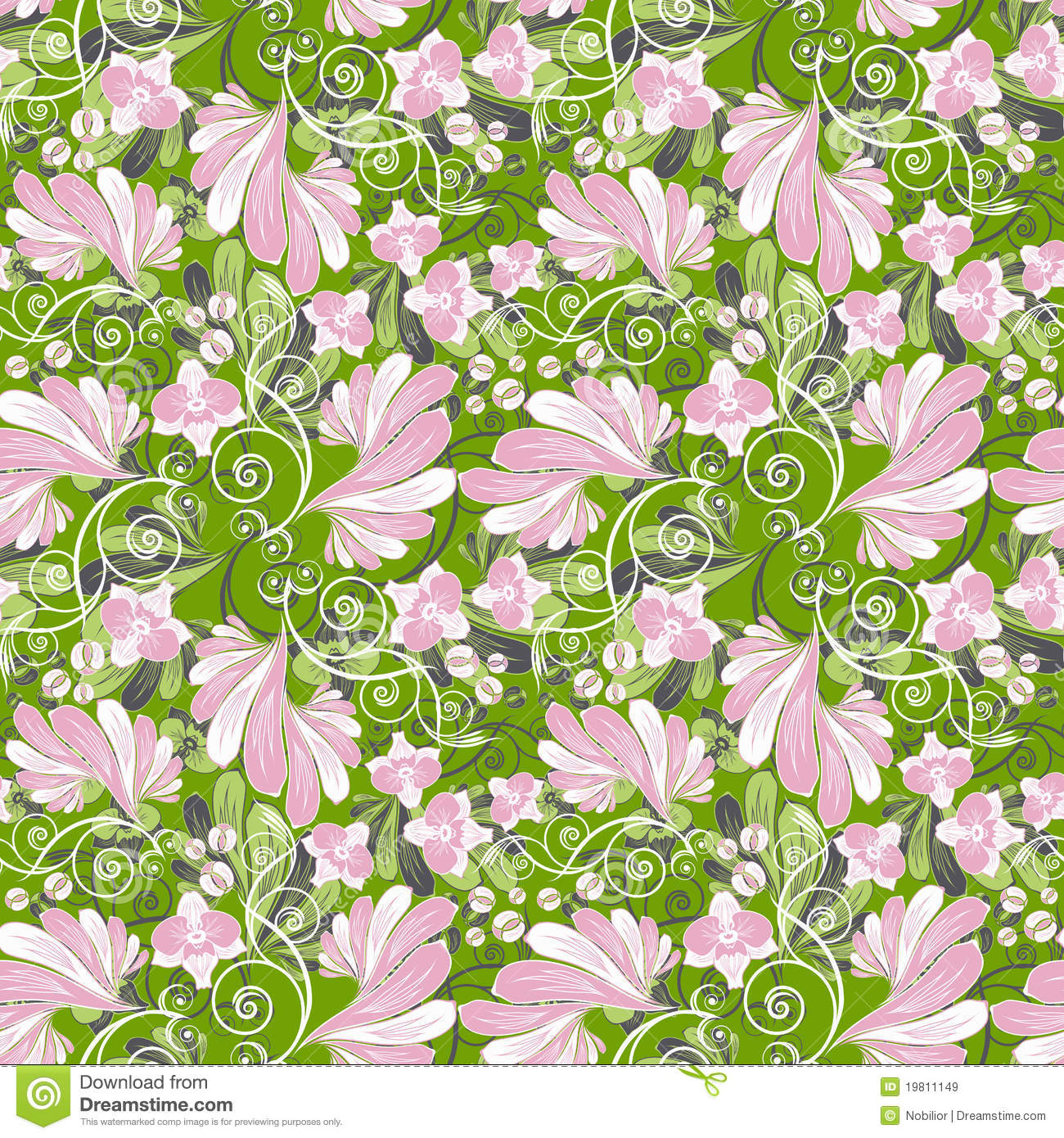 Seamless floral background with orchids