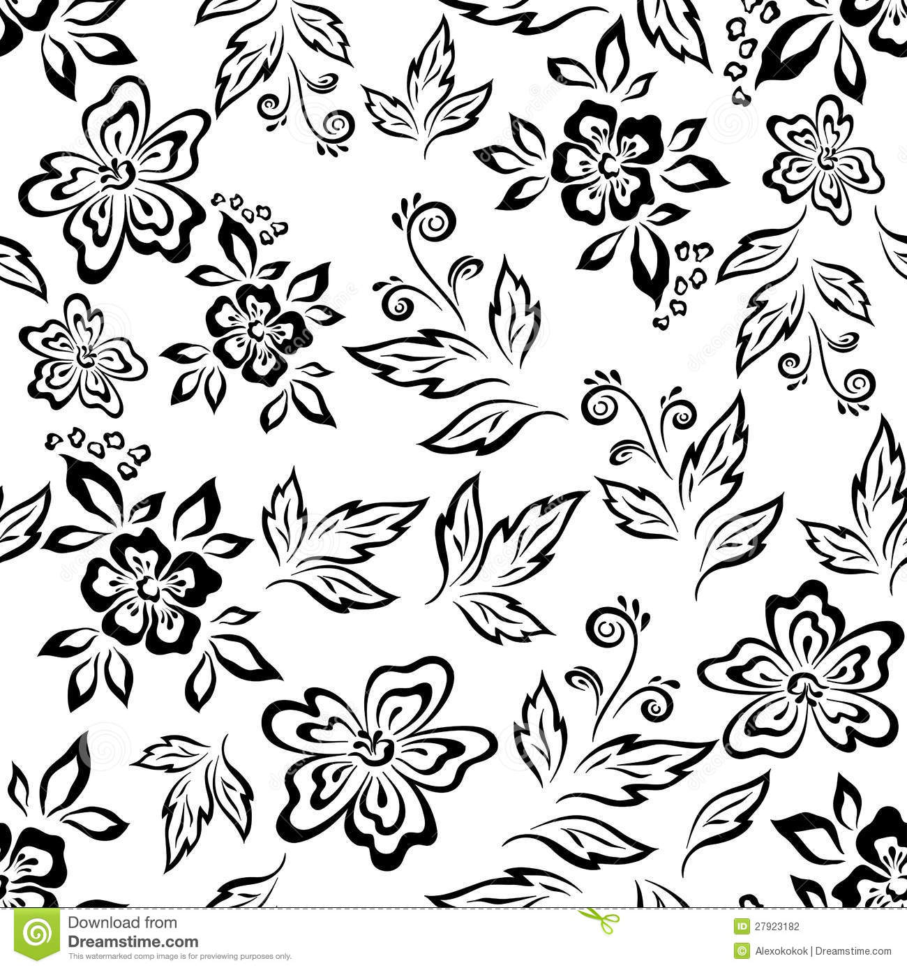 Line Art Flower Background : Seamless floral background outline stock photography