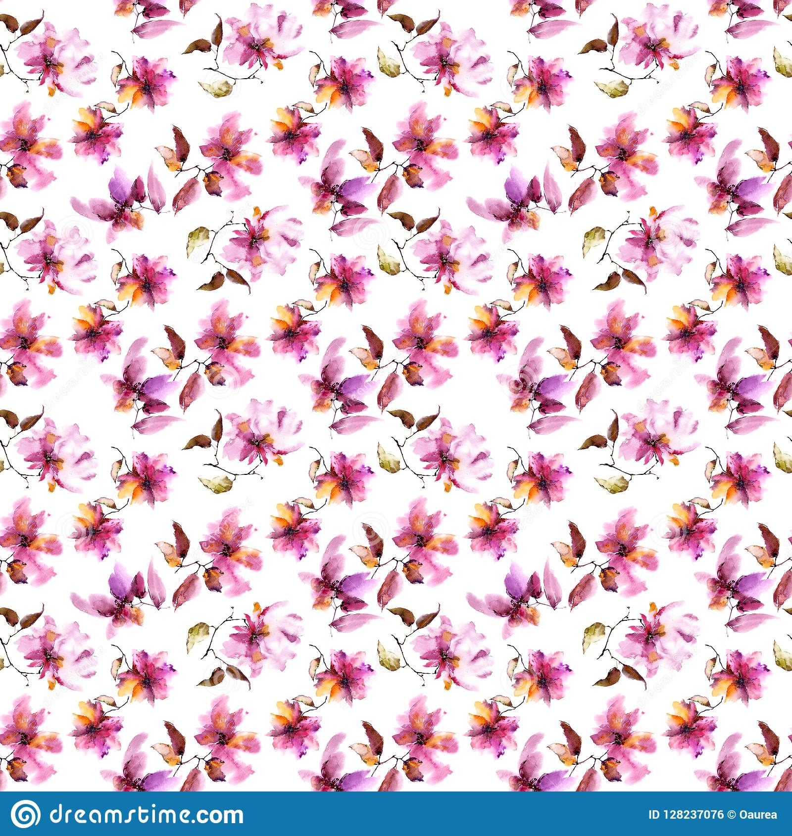 Seamless Floral Background Pink Flowers Pattern Transparent
