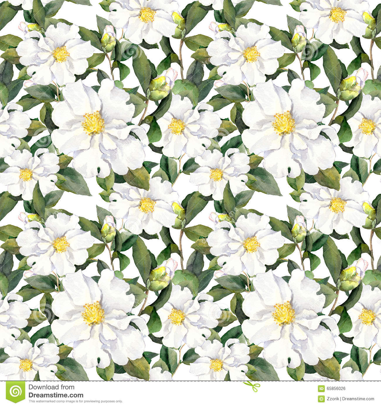 Seamless Floral Background Wallpaper With White Flowers Aquarelle