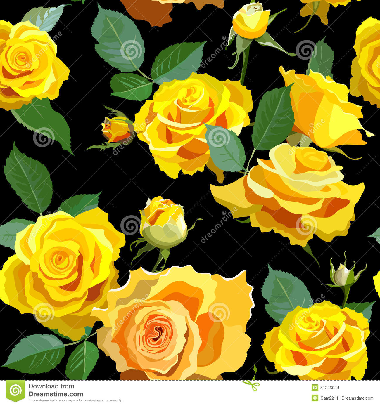 Seamless Floral Background With Yellow Roses Stock Vector