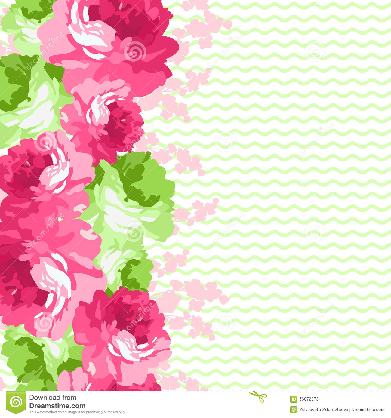 Seamless Floral Border With Pink Roses Stock Vector ...
