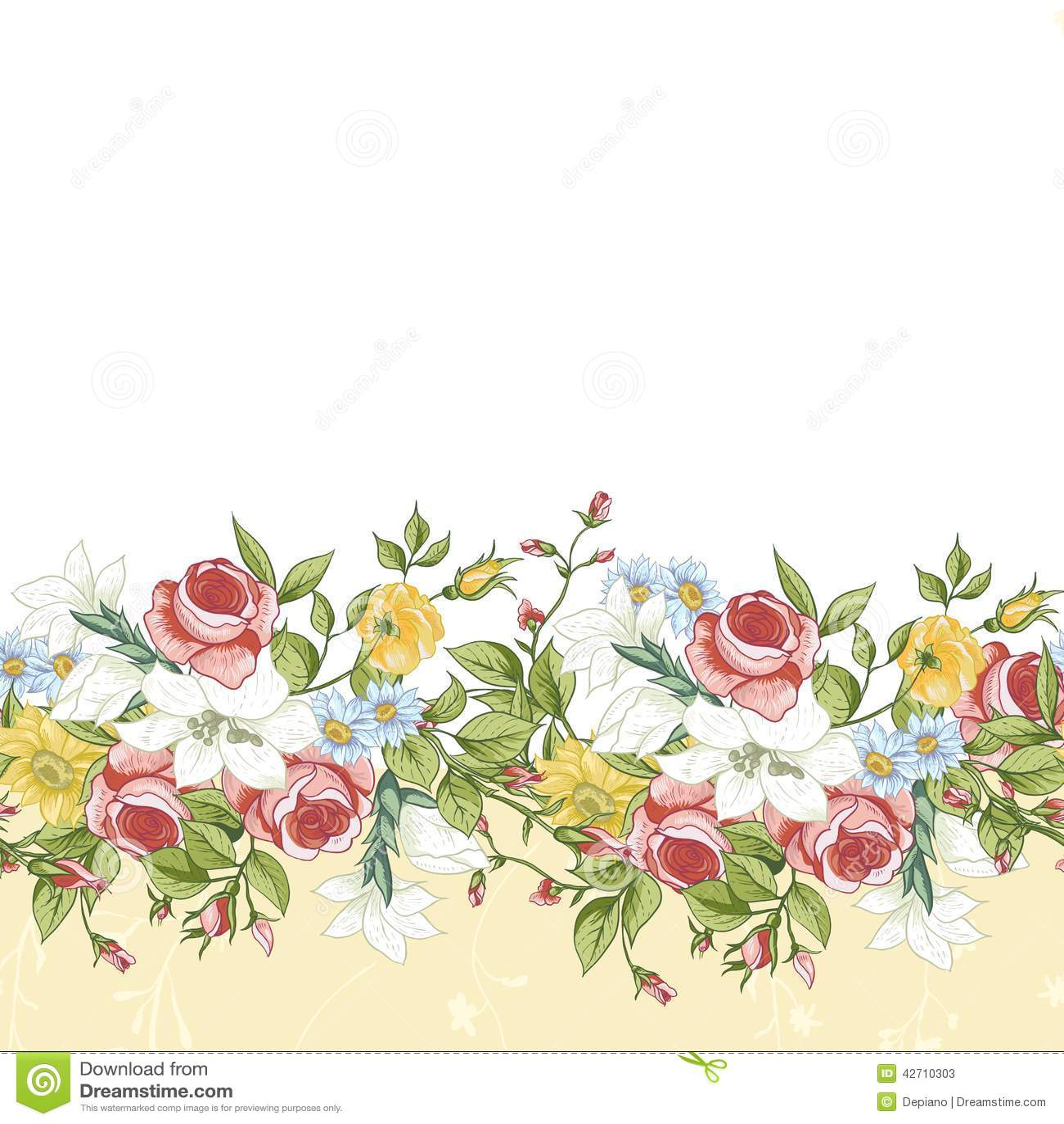 Flower border designs for cards seamless floral border m4hsunfo