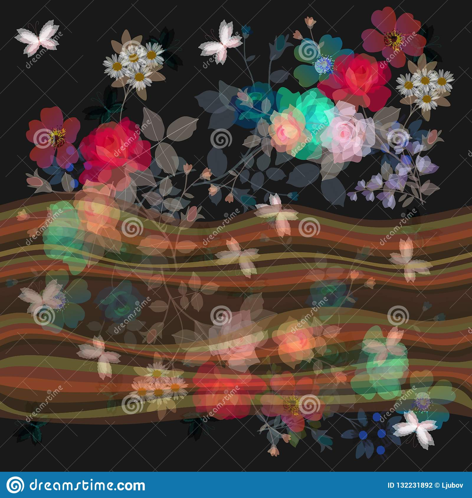 Seamless floral border with waves and transparency bouquets of gardening flowers.