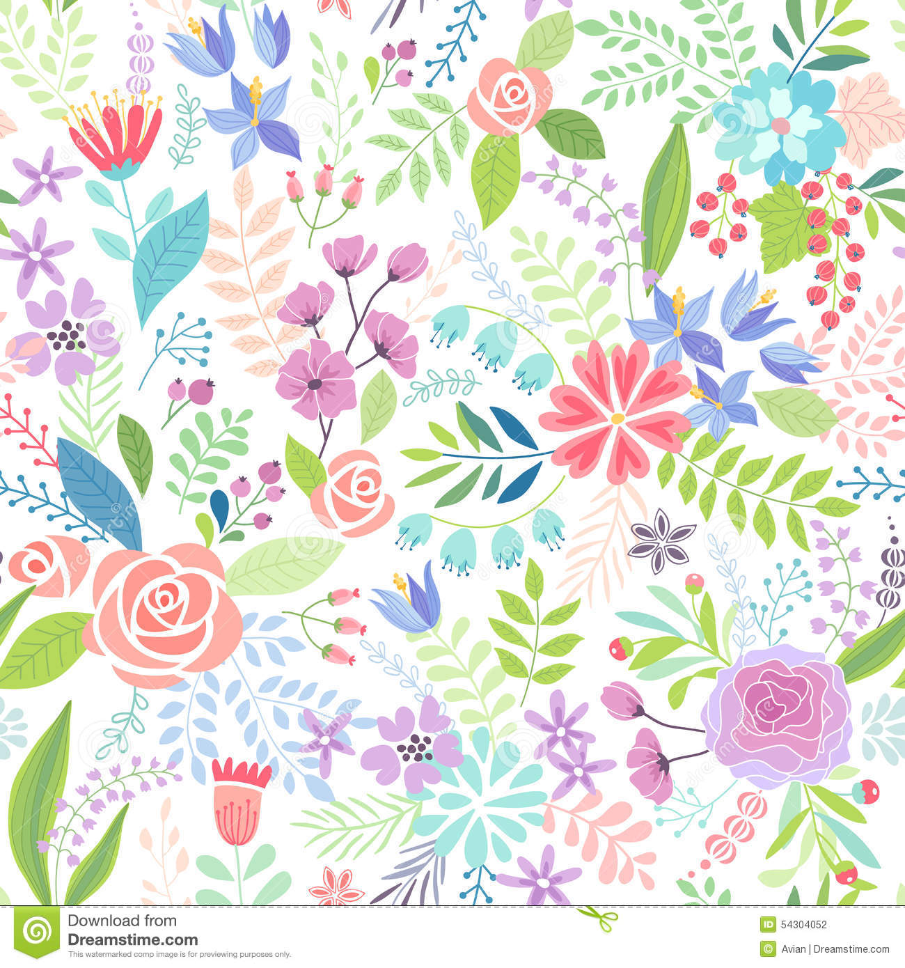 Seamless Floral Colorful Hand Drawn Pattern Stock Vector
