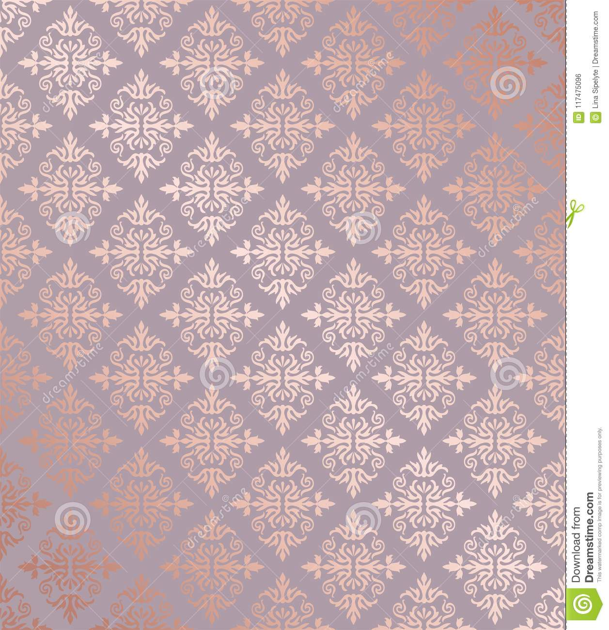 Seamless floral damask rose gold wallpaper. Download preview