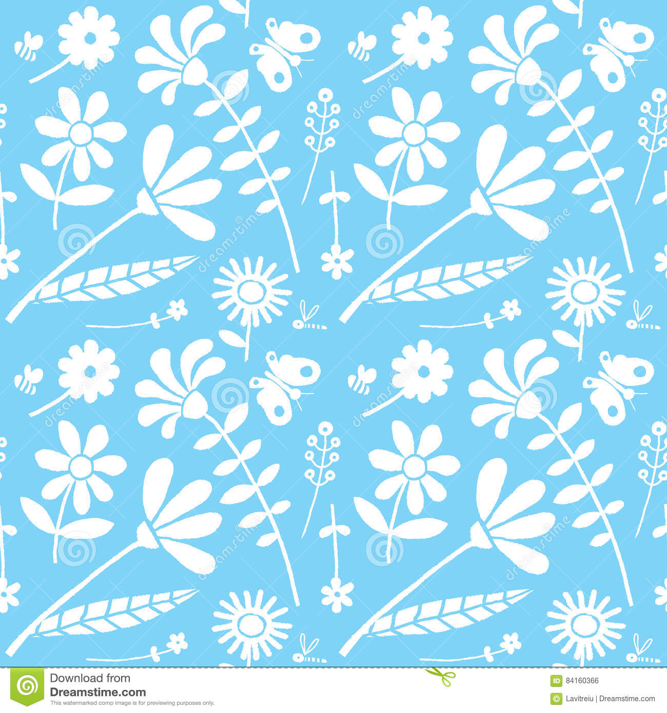 Seamless Floral Drawing Background Pattern Stock Vector