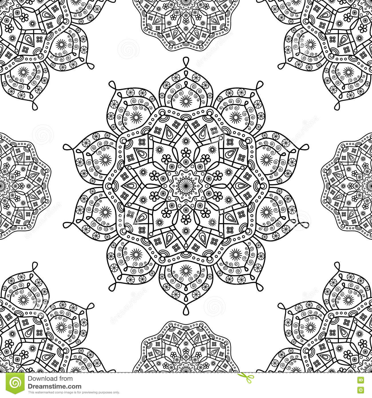 Seamless Floral Mandala Pattern In Black And White Outline Stock