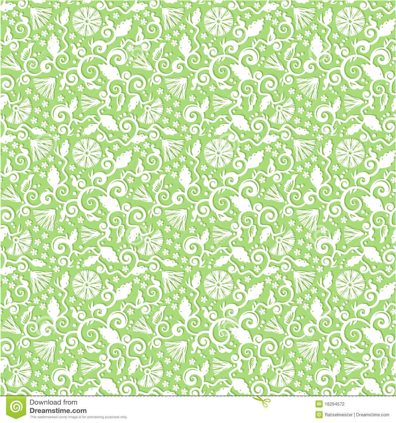 Green and white floral pattern - photo#11