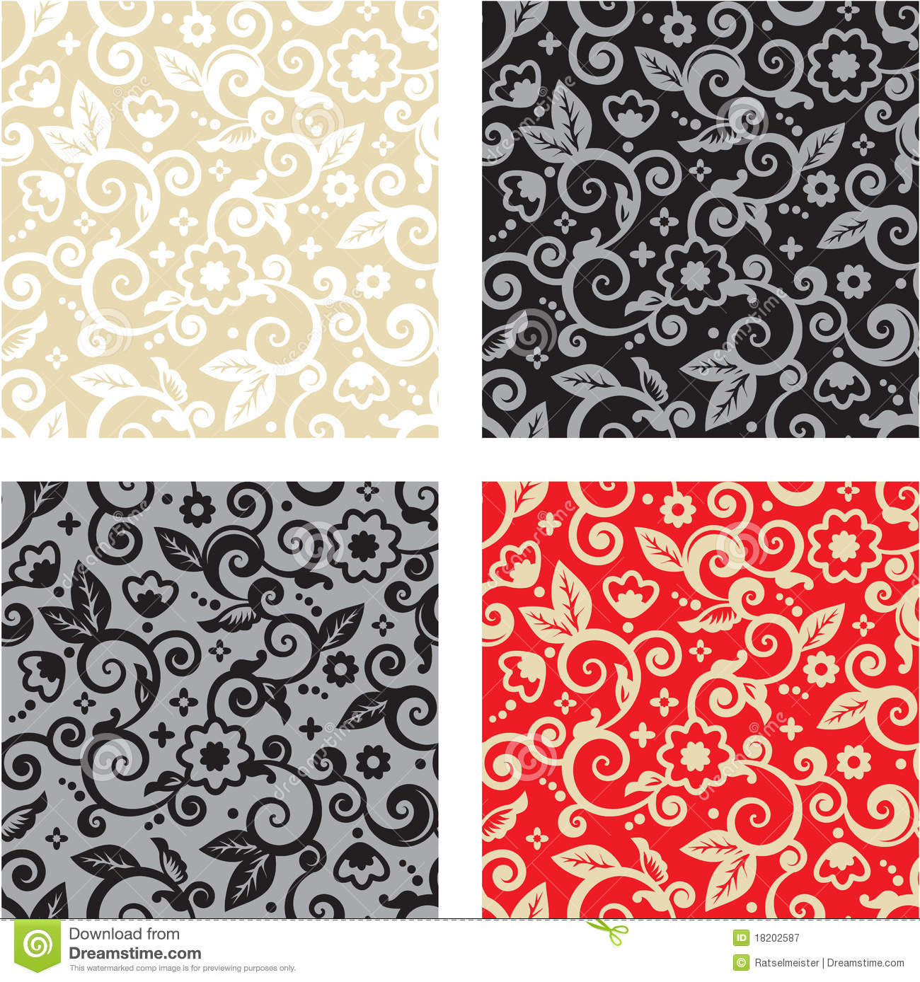 Black Flower And Bud Pattern Royalty Free Stock Photos: Seamless Floral Pattern Backgrounds Stock Vector