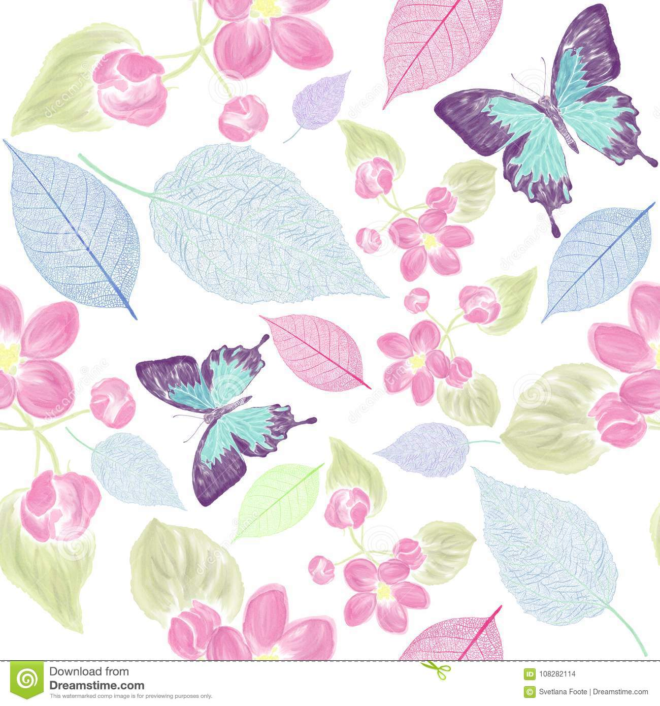 Seamless floral pattern with bbutterfly