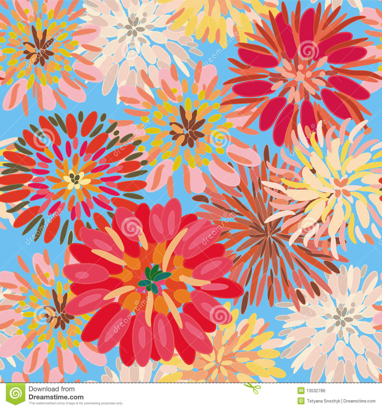 Seamless Floral Pattern With Big Dahlia Stock Vector Image 13532786