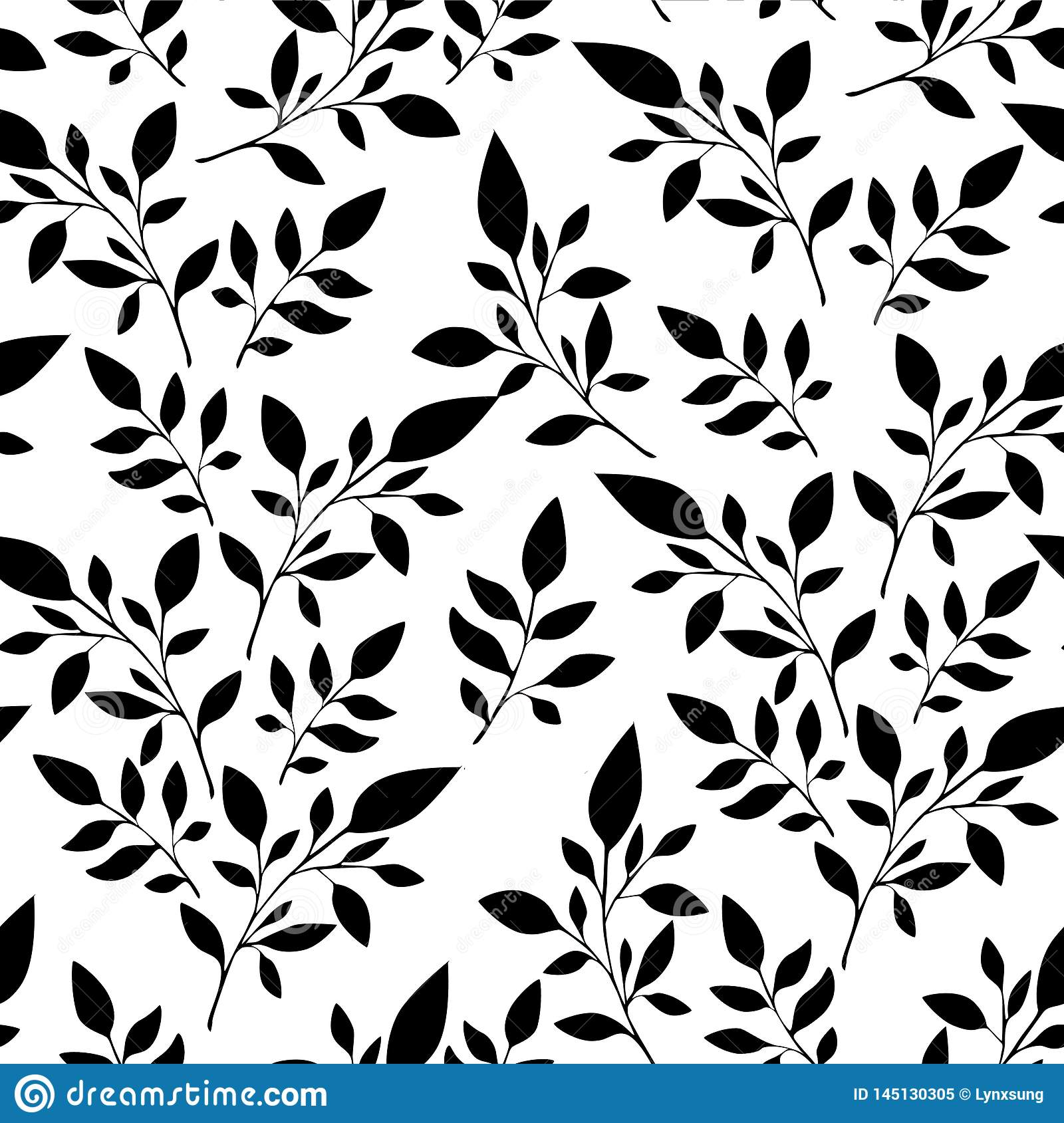 floral pattern, black leaves on the white background for textile printing or background, wallpaper, ad, banner