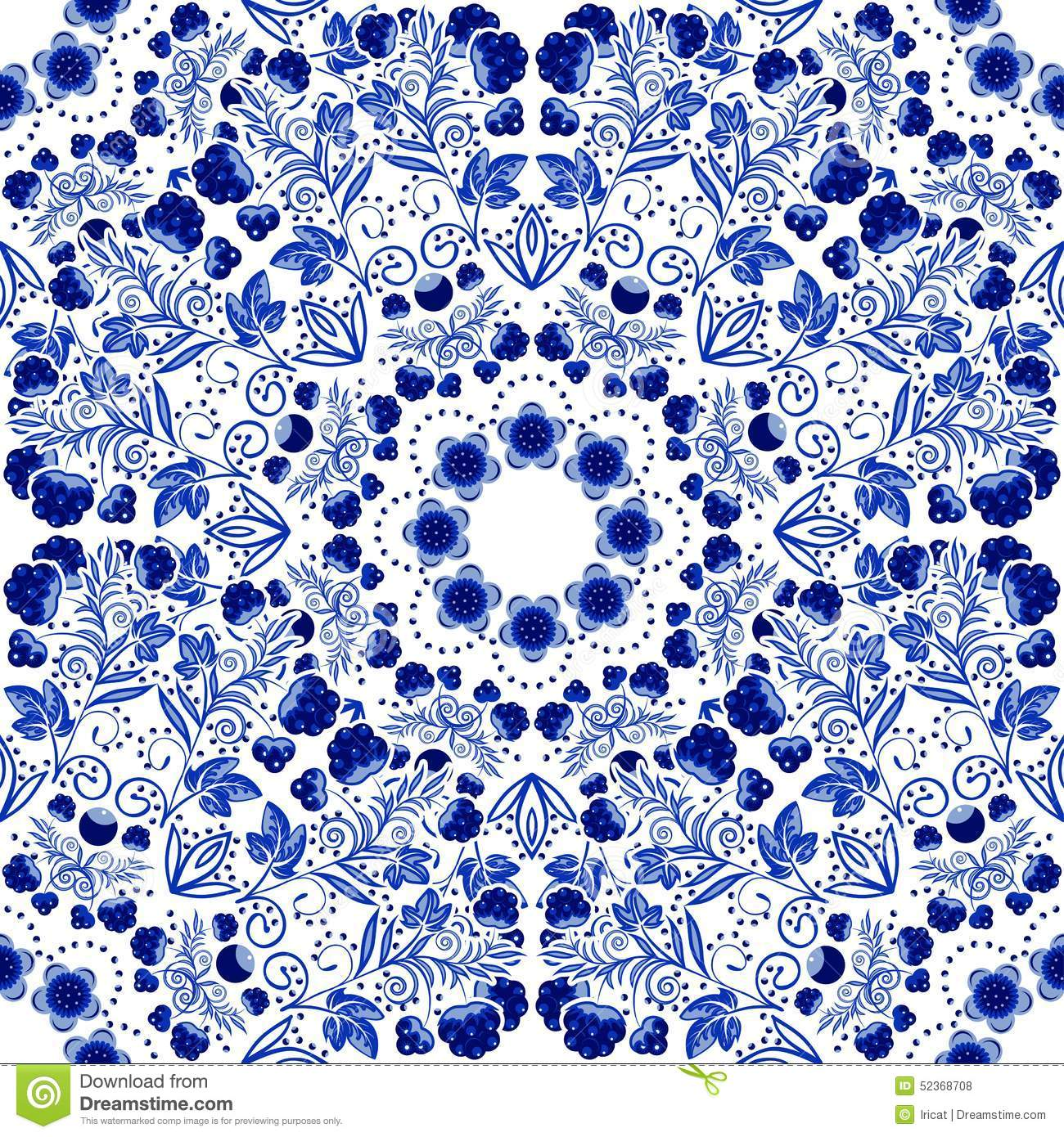 Wall Tiles Designs Seamless Floral Pattern Blue Ornament Of Berries And