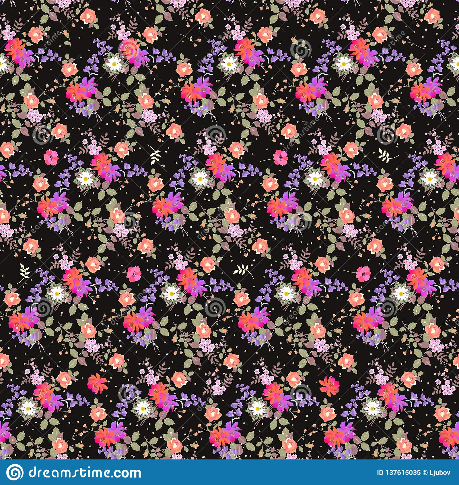 Seamless floral pattern with bouquets of garden flowers and multicolor confetti. Print for fabric. Bell and cosmos flowers