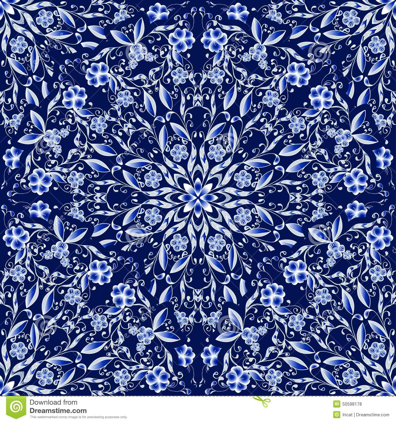 seamless floral pattern of circular ornaments dark blue